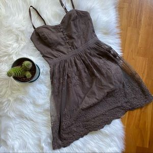AMERICAN EAGLE Brown Lace Embroidered Mini Dress